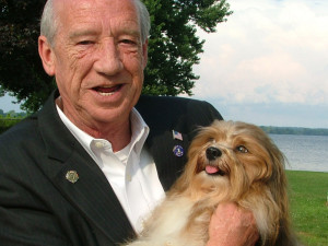 Lokkei, our Havanese dog, meets Mayor Wayne Dougherty, Havre de Grace - Lokkei's home town.